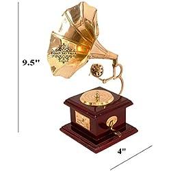 IndianArtVilla latón Vintage maniquí gramófono |antique Showpiece regalo tema |home Decor