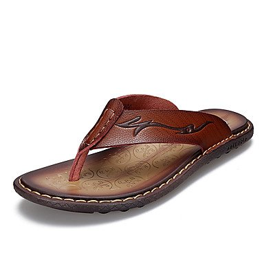 Sommer-Männer Sandalen aus Leder Flip-Flopss Bequeme Klassische Strand Pantoffeln Massage Lässige Flip Sandalen US8.5-9 / EU41 / UK7.5-8 / CN42