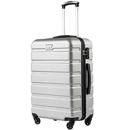 COOLIFE Hartschalen-Koffer Trolley Rollkoffer Reisekoffer mit TSA-Schloss und 4 Rollen(Silber, Mittelgroßer Koffer)