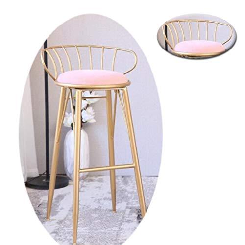 YF-Barstool Kreative Gold Schmiedeeisen Sessel Nordischen Stil Make-Up Hocker Barhocker Stoff Cafe Esszimmerstuhl Hocker Freizeitstuhl Dekoration Hocker (Farbe: Weiß/Rosa - Stoff Stahl Bar Hocker