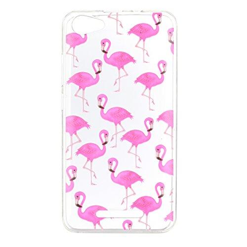 KANTAS 3X Coque Silicone Transparente pour Wiko Jerry TPU Doux Back Case Caoutchouc Gel Etui Clair Ultra Mince Coquille Chat Flamingos Rose Mandala Noir Motif Fit Flexible Housse Silicone Souple Rubbe 3