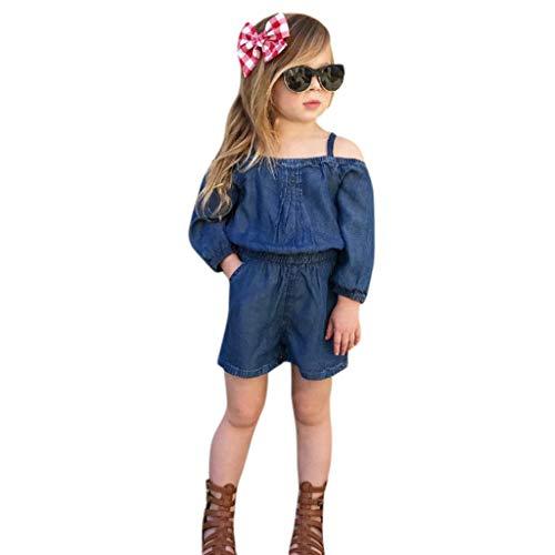 Yogogo Unisex Deinm Baby Strampler Mädchen Kostüm Jeans Festlich Overall Schulterfrei Nachtwäsche Leggings Lose Säugling Outfits Bodysuit Neugeborene Playsuits Pants für Geschenk Kostüm - Denim Overall Kostüm