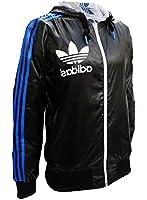 Adidas Originals Mens Black White Linear RV Reversible Wind Breaker Hooded Track Jacket