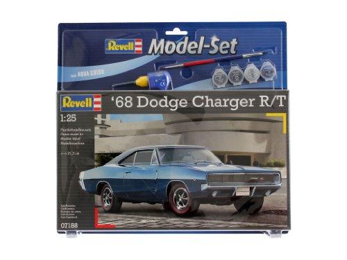 Revell Modellbausatz Auto 1:25 - 1968 Dodge Charger R/T im Maßstab 1:25, Level 4, originalgetreue Nachbildung mit vielen Details, , Model Set mit Basiszubehör, 67188