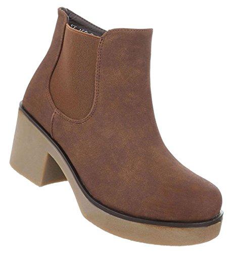 Damen Schuhe Stiefeletten Used Optik Boots Braun 37