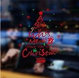 tonywu Autocollant Stickers muraux série Noël Grand Format Armoires de Verre décoratives pour Sapin de Noël Rouge Stickers muraux décoratifs