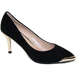 #4181 Damen Designer Schuhe Pumps High Heels Samt Schwarz-Gold 36-41 (37)