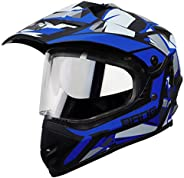 Steelbird Off Road Bang KTN ISI Certified Motocross Helmet with Chrome Silver Sun Shield