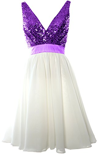 MACloth Women V Neck Sequin Cocktail Dress Vintage Short Formal Prom Party Gown Purple-Ivory