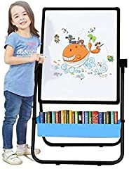 Kids Easel Board , Double-Sided Height Adjustable & 360°Rotating Stand Art Easel for Kids(Black &am