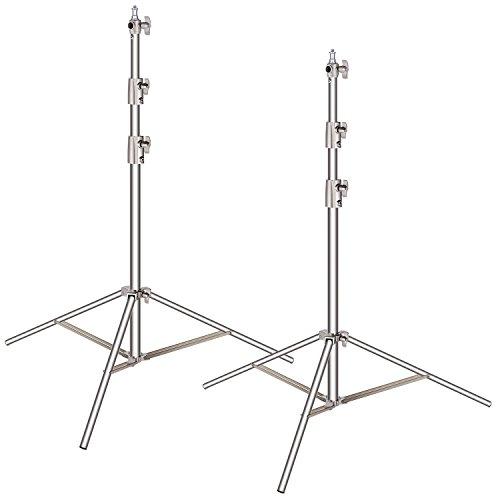 Supporto luce in resistente acciaio inox, alto 260 cm, con adattatore universale da 0,6 cm a 0,95...