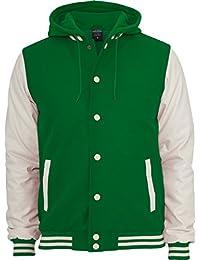 Urban classics college veste à capuche pour homme en cuir style oldschool tB438 slim fit