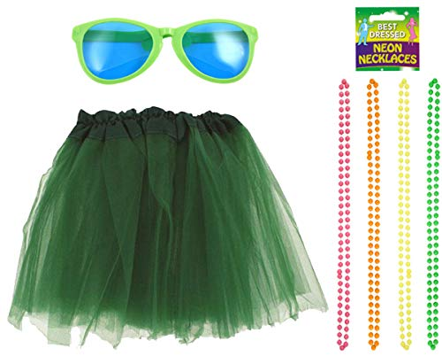 Labreeze grünes Tutu Satin Band Rock Riesen Brille Perlen Halskette Hawaiian Hula Party Set (Rock Perlen Satin)