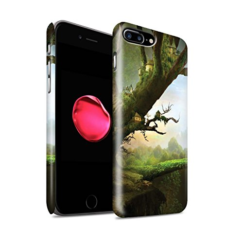 Officiel Elena Dudina Coque / Clipser Matte Etui pour Apple iPhone 8 Plus / Rue Inondée Design / Fantaisie Paysage Collection Ville dans Arbres
