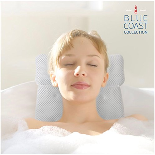 Blue Coast Collection Bath Pillow for Tub with Konjac Sponge–Large Size for Bathtub, Hot Tub, Jacuzzi, and Home Spa–Non-slip Luxury Support for Head, Neck, Back and Shoulders, 6 Strong Suction Cups