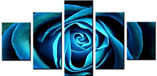 Wowdecor Wand Kunst 5 Stück Leinwand Malerei Drucke mehrere Bilder - Geheimnisvolle Blau Rose Blume Giclee Bilder Malerei auf Leinwand, Poster Wand Dekor Geschenk gedruckt - Ungerahmt (klein) -