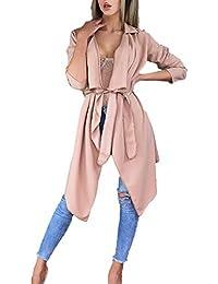 FNKDOR Trench-Coat Femme Manteau Italien Cascade Slim Fit Irrégulier Veste  Longues Revers Cape Cardigan avec Ceinture Noir Vin Rouge Vert… bea48a5d16c