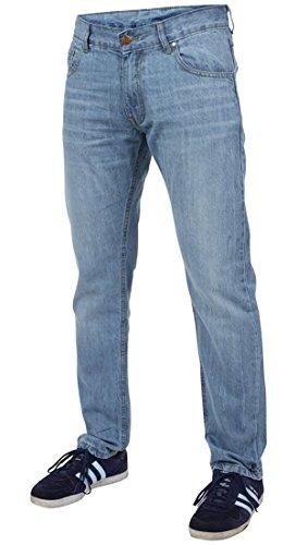 Newfacelook Männer Dünne Jeans Konstrukteur Mode Denim Hose Schlauch L-BLUE