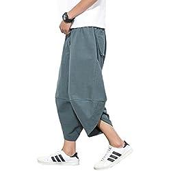 Mirecoo - Pantalones de Verano Estilo Bohemio Hippie de Pierna Ancha, de algodón, con Bolsillos Gris Gris 27-32