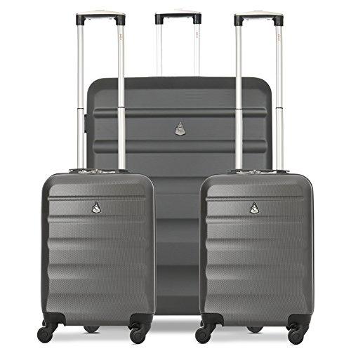 Aerolite Hartschalenkoffer Gepäckset - 2 x Kabine Handgepäck + 1 x Groß großer Koffer, 3-teiliges Kofferset (Kohlegrau)