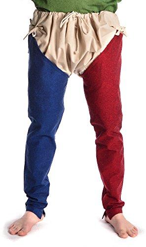 HEMAD Mittelalter Beinlinge-Paar 2farbig aus Fester Baumwolle blau-rot XXL/XXXL