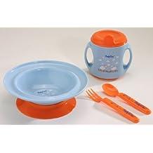 Set de vajilla para alimentación de bebé que incluye: bol con ventosa, vaso de destete y cubiertos
