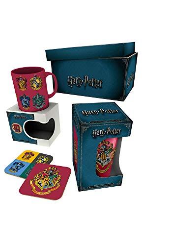 Harry Potter – Crests – Limited Edition Gift Box Geschenkset Fanartikel je 1x Lizenz-Tasse,1x Glas und 2X Untersetzer – Grösse 22×16,5×10