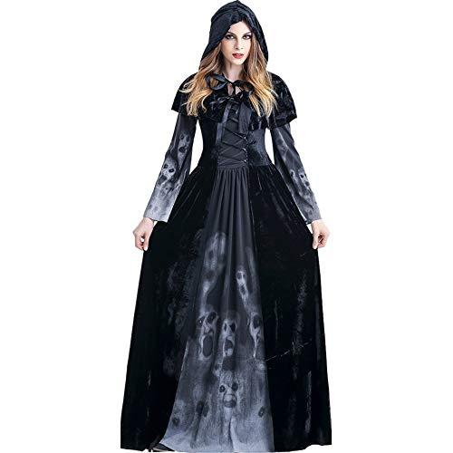 Kostüm Mittelalterliche Weibliche - YPPDSD Halloween Cosplay Kostüme Erwachsene Weibliche Todesgott Kleid Horror Schädel Vampir Langen Rock Mantel Mittelalterlichen Vintage Dalian Hut Kostüm,Schwarz,XL