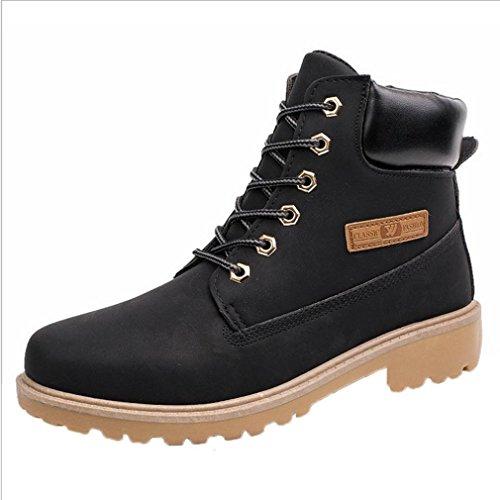 XINANTIME - Botines para hombres Forrado invierno otoño cálido Martin Boots Zapatos (43, Negro)