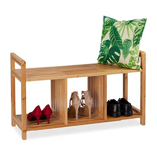 Relaxdays Sitzbank Bambus, mit Stauraum, 2 Personen, 3 Fächer, Flur, Garderobe, Schuhbank, HBT: 56 x 95 x 36 cm, Natur