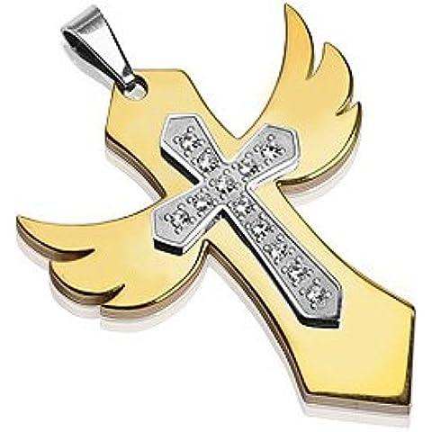 Spikes Hombres del acero inoxidable 316L y chapado en oro Collar gótico del colgante de la cruz. Presentado en una caja de