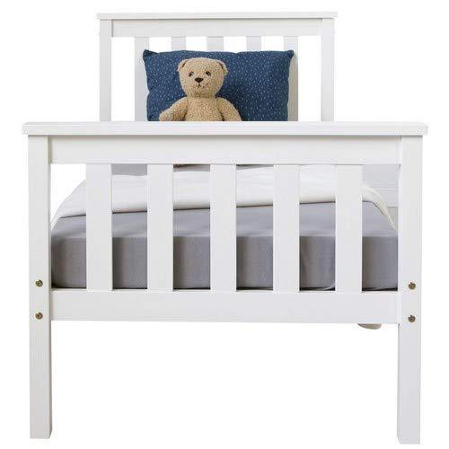 Homestyle4u 1417 Holzbett Kiefer massiv, Einzelbett aus Bettgestell mit Lattenrost, 70×140 cm, Weiß - 6