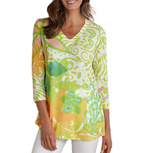 XNBZW Tops Womens V Neck Floral Printed Twist Tops 3/4 Sleeve Blouse Casual Plus Size Tops Shirt V Neck Retro Print Daily Vintage Loose Blouse 3/4 Length Down Coat