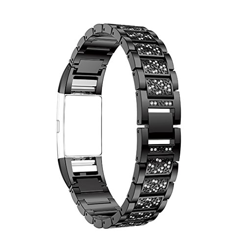 Bracelet Fitbit Charge 2 Femme Noir,Bracelet Charge 2 Fitbit Bracelet Montre Band Rosa Schleife®Montre Connectée Bracelet Femme Metal Fitbit Charge 2 Acier Inoxydable Boucle Fermeture avec Rhinestone Sport Band Straps Wristband Steel pour Fitbit Charge 2 Fitness Tracker (No Tracker)