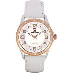 Swiss Mountaineer Ladies Watch White Leather Band Easy Read MOP Dial Gold Tone Bezel SM8050