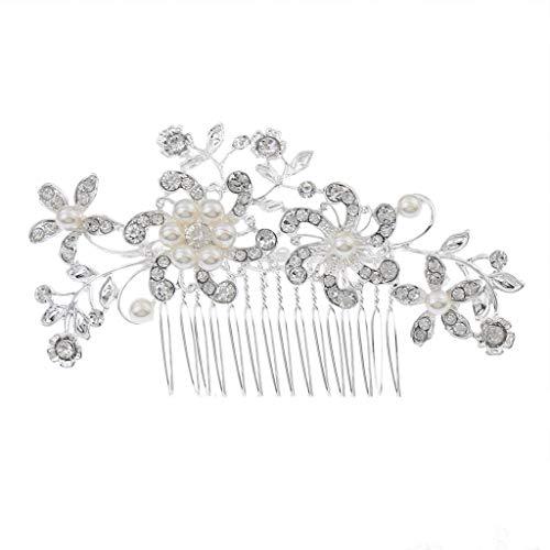 Ogquaton Pince de peigne à cheveux Diamante argenté de mariage haut de gamme pour mariage/fête/bal de fin d'année