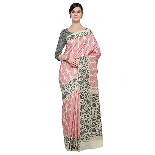 Triveni Damen Indisch Peach Wove Blended Cotto Officewear Saree (Rock Anzug Peach)