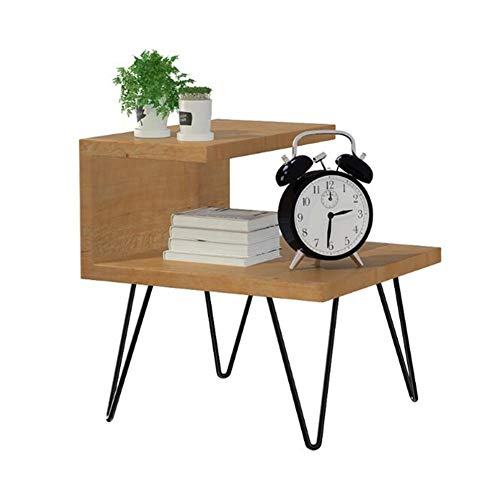 Tables CJC Mid-Century Style Noyer Couleur Chevet De Nuit Fin avec Noir Métal Cadre (Couleur : Walnut Colour)
