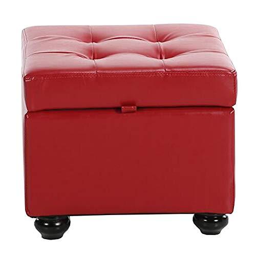 Dall Fußhocker Polsterhocker Storage Cube Box Polster- Sofa Hocker Bequem Haltbar Schuh Bench (Farbe : Rot, größe : 44×44×37cm)