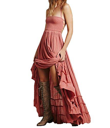 Été Bohême Big Swing Maxi Robe de Plage Soirée Fête Sexy Sans Manches Dos Nu Long Robes Femme Rouge