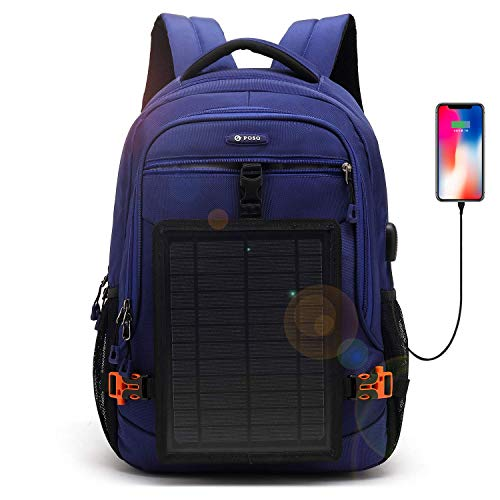 DTBG Solarrucksack 15,6 Zoll Laptop Rucksack Reiserucksack Nylon Businesstasche Lässiger Pendler-Rucksack mit abnehmbarem 5-Watt Solarpanel für iPad Smart Phone Männer Frauen-Blau