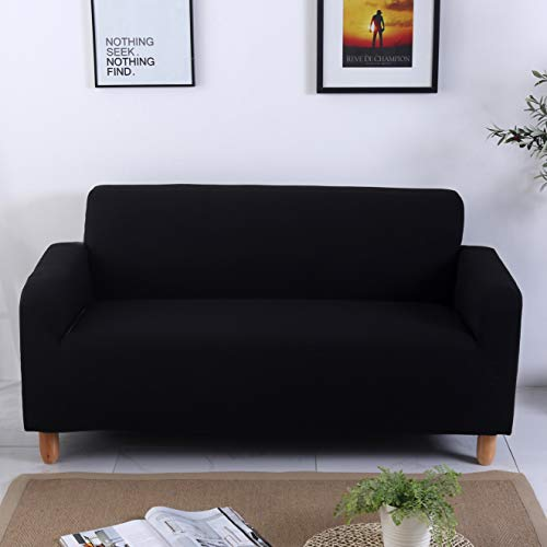 DECMAY Sofa Cover 3 Seater Slipcover, Easy Stretch Elastic Fabric Sofa Protector Slip Cover Dust-proof Washable,for Living Room and Bedroom(190 * 230cm, 3 Seater,Black)
