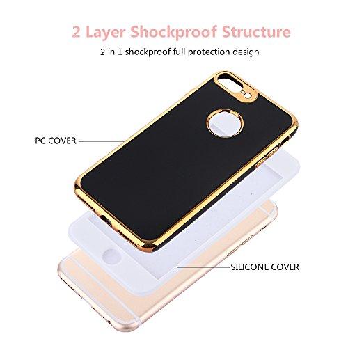 Techvibe iPhone 6S Plus Coque, protection complète du corps avant + arrière, brillant fin TPU Coque, double couche, résistant aux chocs, protection en cas de chute pour iPhone 6S Plus/6Plus (14cm) B Doré/noir