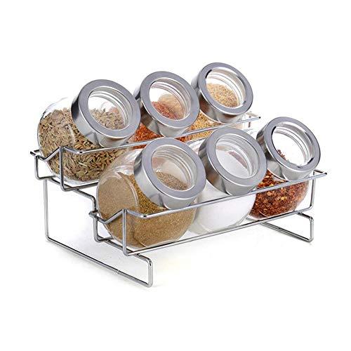 TIDLT Haushaltswaren Küche Gewürz Spice Box Jar Pack of, 6 Gewürzdosen Mit 1 Rack (größe : 20 * 15 * 15cm) 20 Jar Spice Rack
