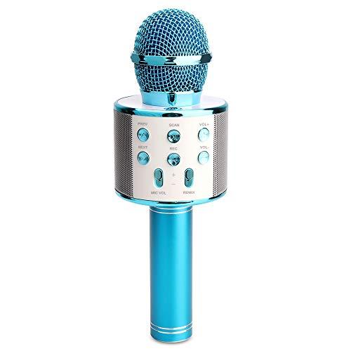 Sporgo Bluetooth Karaoke Mikrofon,Kinder Mikrofon Tragbare Hand-Karaoke Bluetooth Hand Karaoke Lautsprecher Spieler Maschine Fü KTV-Partei,Karaoke Mikrofon Für Android/iPhone (Blue)