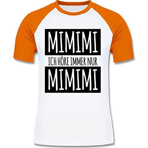 Shirtracer Statement Shirts - Ich Höre Immer Nur Mimimi - Herren Baseball Shirt Weiß/Orange