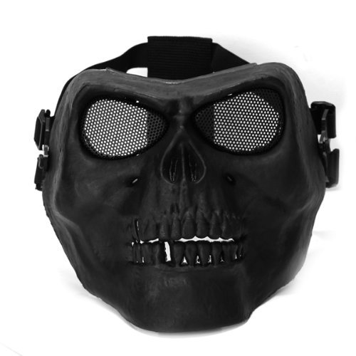 Dcolor Maschera Copriviso Protettivo Nero Forma Teschio per Softair