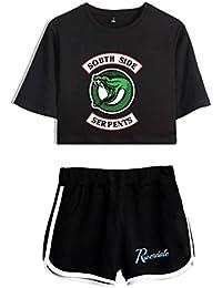 ZIGJOY Riverdale Crop Top T-Shirts et Shorts Vêtements Costume pour Les Filles  et Les 598b1c91bab