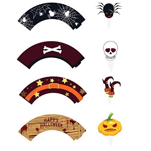 Amosfun 24 stücke Halloween Kuchendeckel Halloween Thema Kuchen Dekoration Dessert Tisch Wraps Cartoon Kuchenverpackungen Kuchendeckel Party Supplies Halloween Party Favors