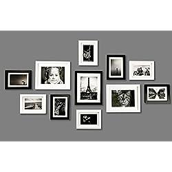 Conjunto de Marcos de Fotos de MADERA SÓLIDA - Set de 11 Marcos - Con Paspartú - Negro&Blanco - REBAJA - ¡Anchura del Marco 2cm!